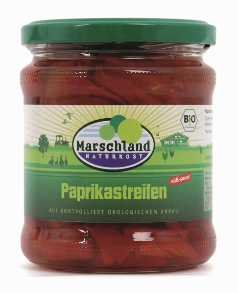 Bio-Paprikastreifen, rot 370 ml