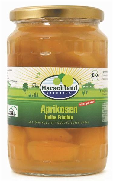 Bio-Aprikosen, halbe 720 ml Gl. MARSCHLAND